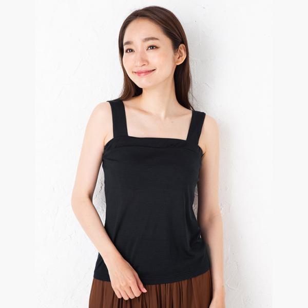 シルク100% ジャージー チラ見え防止 ベアトップ風 タンクトップ 日本製 レディース デコルテフィットで胸元カバー|eses|03