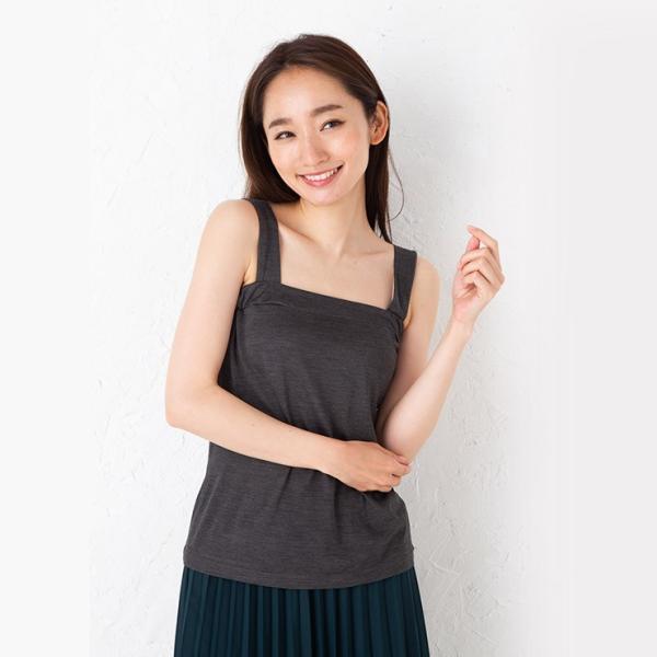 シルク100% ジャージー チラ見え防止 ベアトップ風 タンクトップ 日本製 レディース デコルテフィットで胸元カバー|eses|04