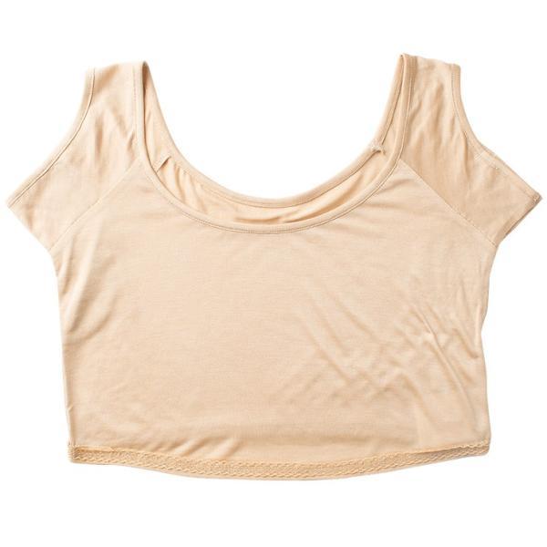 汗取りインナー ハーフトップ シルク100% レディース 脇汗パッド付き フレンチ袖 ベージュ M|eses|12