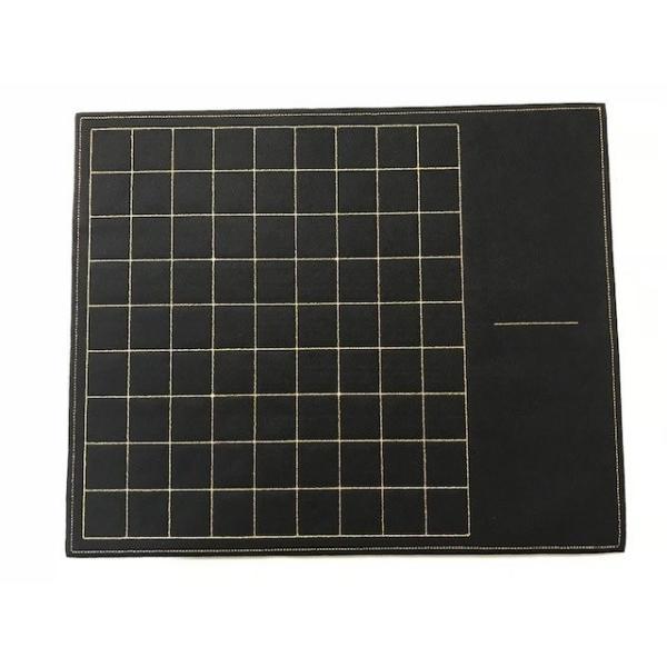 フェルト製 駒台一体型将棋盤 (黒色) 升目は金糸で刺繍|eshisyu