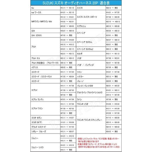 cd428b0143 ... 1年保証 取説付 スズキ☆アルパイン カーナビ 取り付け オーディオハーネス 20P 配線 変換 ...