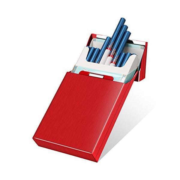 KIVORSシガレットケースタバコケース20本収納可蓋に磁気付き軽量タバコ収納ケース男性/女性用(レッド)