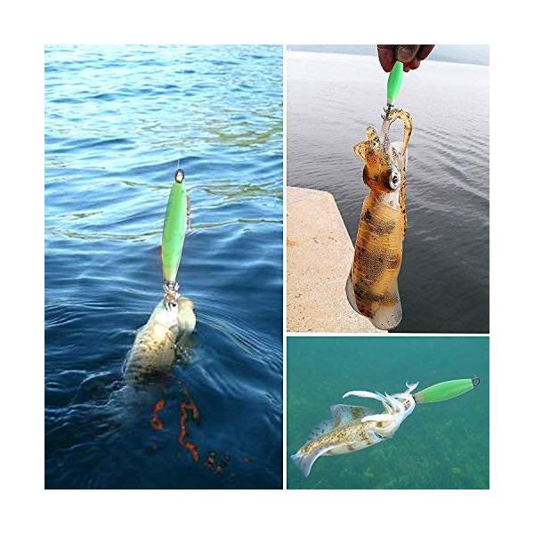 夜光イカフック フック付きイカルアーセット 蛍光 仕掛け 疑似餌 マイカ スルメイカ オリイカ スミイカ ケンサ