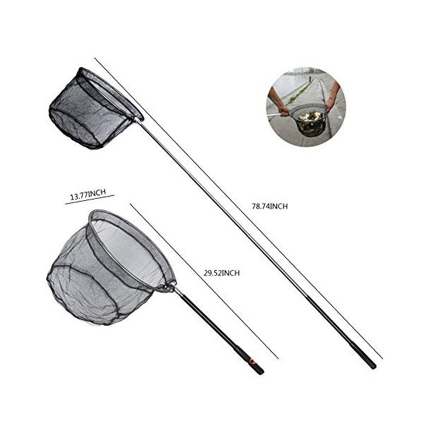 タモ網 ステンレス製ハンドル ワンタッチネット ランディングネット 折り畳み式 伸縮5段階玉 釣り 伸縮式 長さ