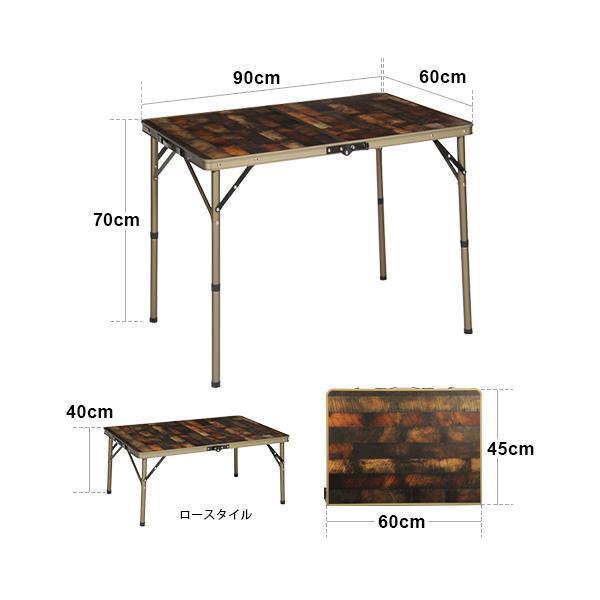 クイックキャンプ (QUICKCAMP) アウトドア 折りたたみテーブル 90×60cm 収納袋付き ヴィンテージライン QC-2FT90V 二つ折り 軽量 折り畳み ピクニックテーブル esports 02