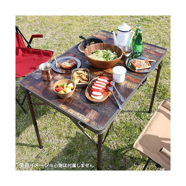クイックキャンプ (QUICKCAMP) アウトドア 折りたたみテーブル 90×60cm 収納袋付き ヴィンテージライン QC-2FT90V 二つ折り 軽量 折り畳み ピクニックテーブル esports 05