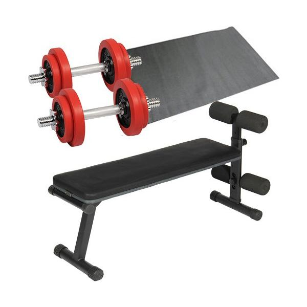 ダンベルトレーニング4点セット:レッド10kg フラットベンチ ラバーダンベル10kg 2個セット 保護マット 20kgセット 7kg 5kg ウエイト ベンチプレス 筋トレ|esports