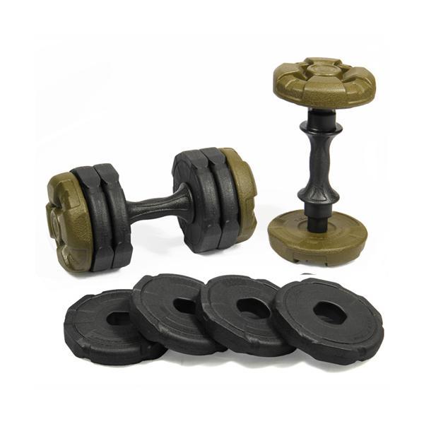 アーミーダンベル 10kg 2個セット グリーン LEDB-10AG*2 無臭 重量調節可 ダンベル 20kg 5kg 7kg 10kg セット 筋トレ ウエイトトレーニング ダイエット器具|esports|02