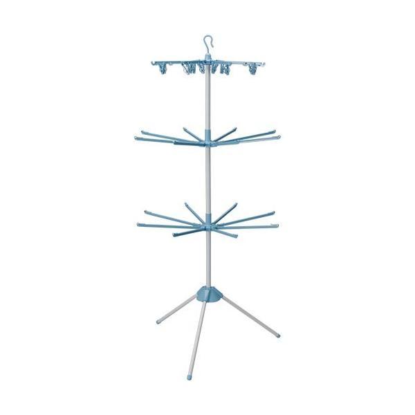 アイリスオーヤマ(IRISOHYAMA) 室内物干しパラソル3段 ブルー WSP-173R 生活用品 新生活 洗濯物 雨 梅雨