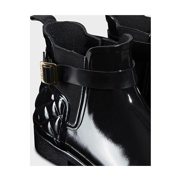 ハンター(HUNTER) レディース リファインド グロス キルテッド チェルシー ブラック WFS1032RGL 長靴 ショートブーツ サイドゴアブーツ