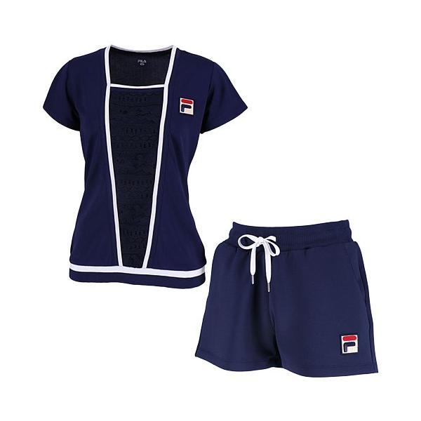 4ec8db816cc78 フィラ(FILA) レディース テニスウェア 上下セット ゲームシャツ & ショートパンツ フィラネイビー