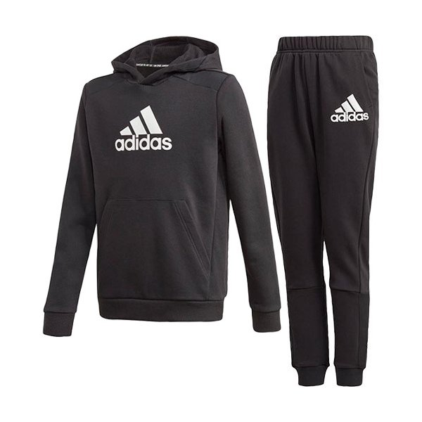 アディダス(adidas) ジュニア ロゴ パーカー Logo Hoodie & パンツ BOS PANTS 上下セット ブラック/ブラック JKX64 GJ6633/JKX63 GJ6625 スポーツウェア 子供