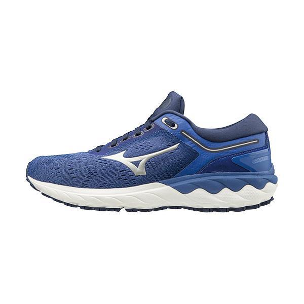 ミズノ(MIZUNO) レディース ランニングシューズ ウエーブスカイライズ WAVE SKYRISE ブルー×シルバー J1GD2009 03 スニーカー ジョギング シューズ 靴