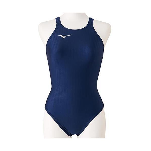 ミズノ(MIZUNO) ジュニア 競泳水着 ミディアムカット ネイビー N2MA0423 14 FINA承認 女子用競泳水着 女の子 競技用 水着 スイムウェア
