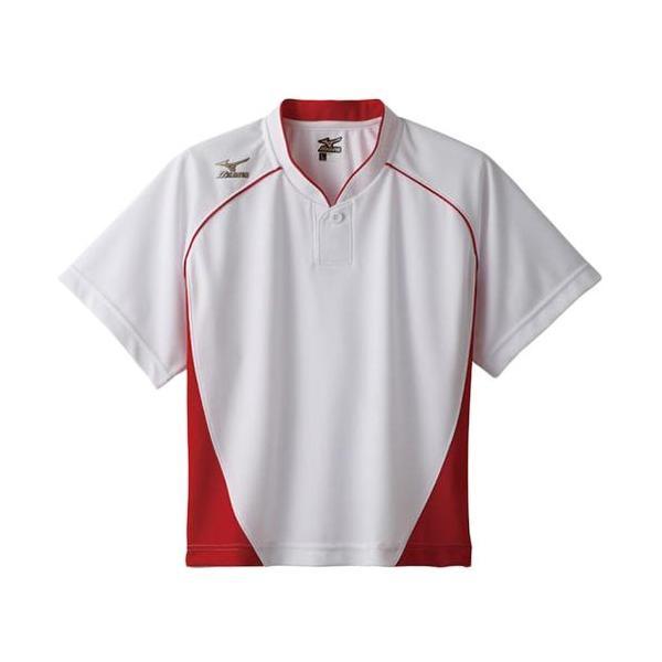 ミズノ(MIZUNO) レディース グローバルエリート ベースボールシャツ(ハーフボタン 小衿) ホワイト×レッド 12JC6L7062 野球 ウェア ユニフォームシャツ