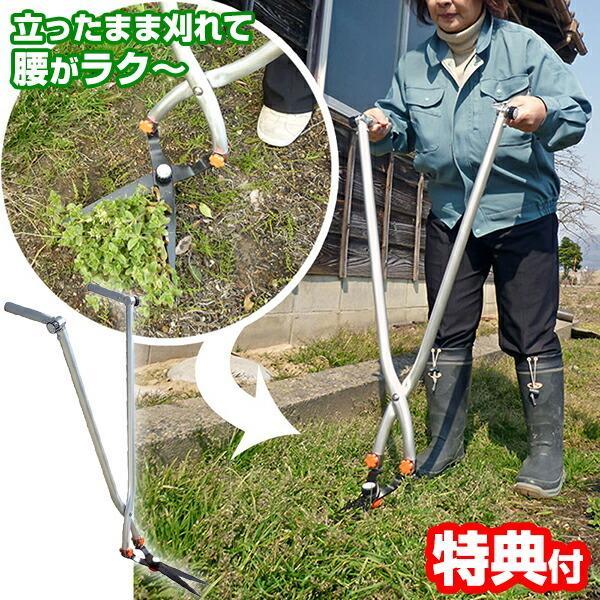 《クーポン配布中》立ち作業用草刈りハサミ ハンドル可変タイプ KC-4252 日本製 草刈り鋏 ラクラク草かり 根切り 立ったまま草刈り 草取り はさみ
