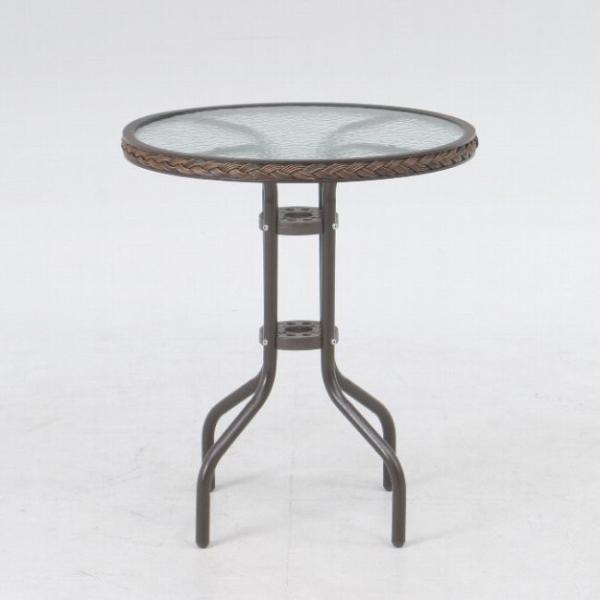 ガーデンテーブル カフェテーブル テーブル スチール&強化ガラス丸天板直径600mm ガーデンファニチャー ベランダ ガーデニングテーブル