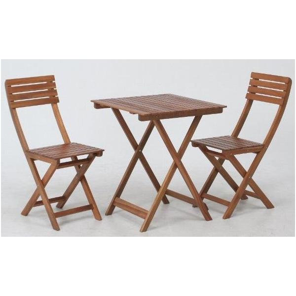 ガーデンテーブルセット カフェテーブルセット 折りたたみ木製テーブル&チェアー3点セット アカシア材使用 テーブル チェア(椅子)2脚 完成品