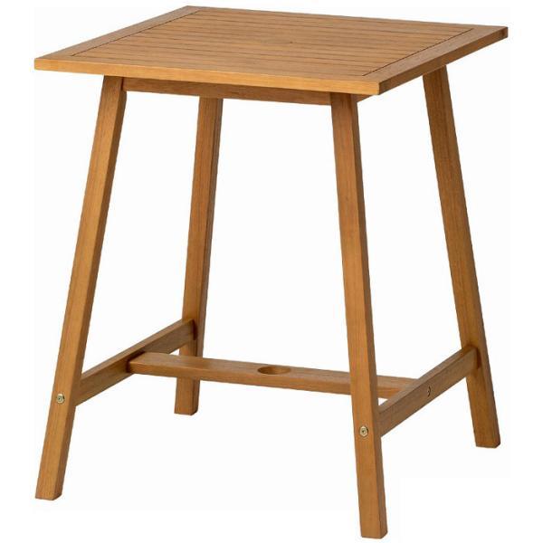 ガーデン テーブル 天然木 ユーカリ材 マリーウッド テーブル スクエア パラソル穴付 幅60×奥行60×高さ72cm 組立式 ガーデンファニチャー 送料無料
