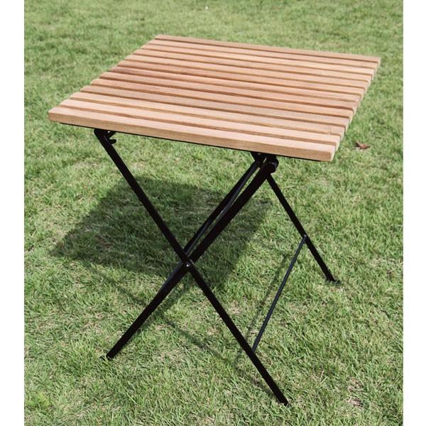 ガーデンテーブル 折りたたみテーブル カフェテーブル木製ガーデン家具折りたたみアイアン チーク ガーデンファニチャー完成品