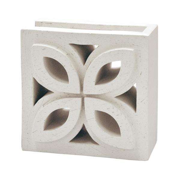 ブロック塀 アプローチ エントランス せっき質無釉ブロック ポーラスブロック200コーナー 190Fタイプ 白土(配筋溝あり・1面フラット) 1個単位 屋外壁 diy