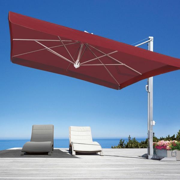 ガーデンパラソル 日よけパラソル スコラロ社 イタリア製 高級パラソル ガリレオイノックス ボルドー フリル有り 傘幅 300cm 大型 ベース付き