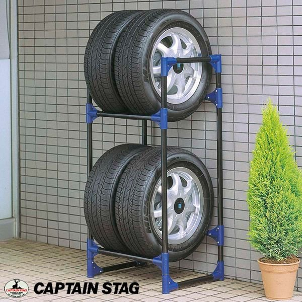 タイヤ ラック 棚 普通自動車用 タイヤ収納ラック 2段 タイヤ4本収納 最大積載120kg 585×435×1160mm M-9639 CAPTAIN STAG キャプテンスタッグ