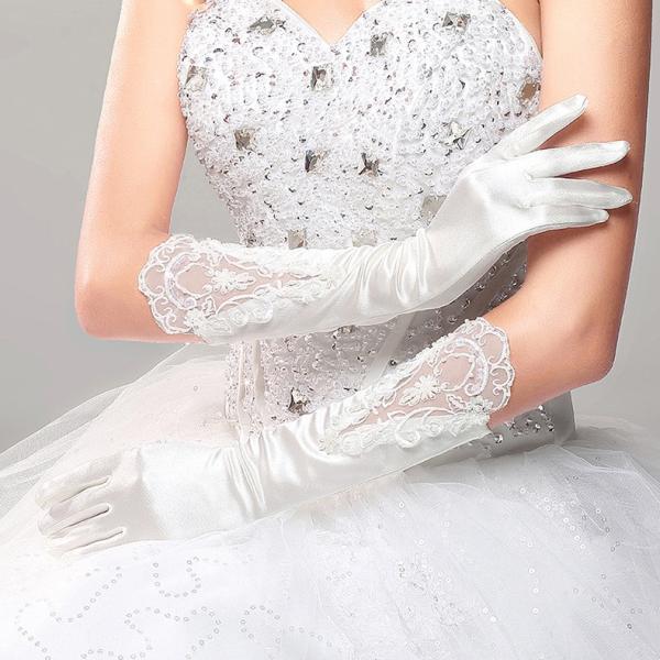 0bed42b6e4635 ... ウェディング グローブ 花嫁 結婚式 披露宴 二次会 手作リ ウェディングドレス プリンセスドレス 素敵 手袋 ...