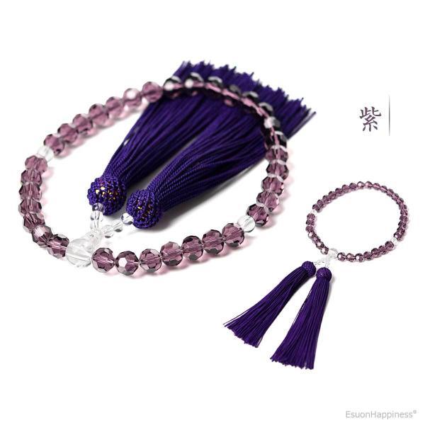 数珠 女性用 多種類選 ミラーカット  商品ポーチ付 念珠 esuon 05