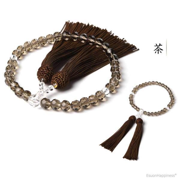 数珠 女性用 多種類選 ミラーカット  商品ポーチ付 念珠 esuon 06