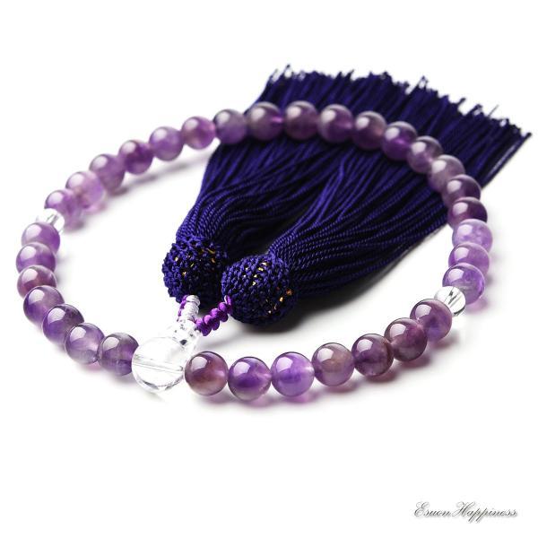 数珠 女性用 紫水晶 本水晶 8mm アメジスト 商品ポーチ付 念珠 天然素材|esuon|02