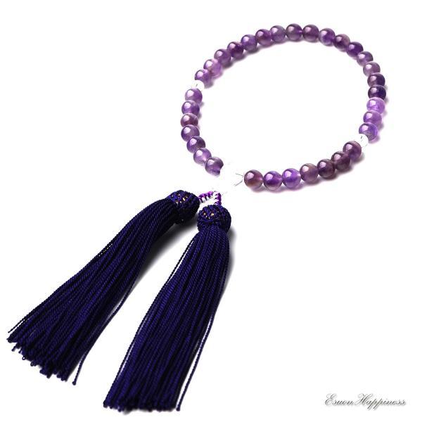 数珠 女性用 紫水晶 本水晶 8mm アメジスト 商品ポーチ付 念珠 天然素材|esuon|03