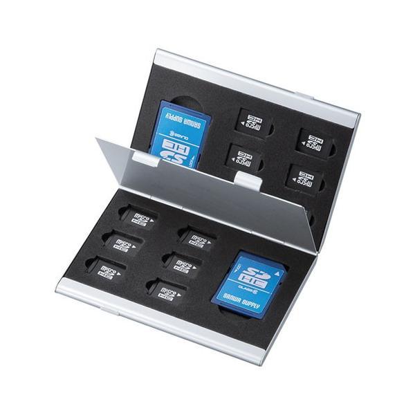 メモリーカードケース microSDカードケース 最大14枚収納 アルミ製 両面収納 FC-MMC5MICN2 サンワサプライ ネコポス対応