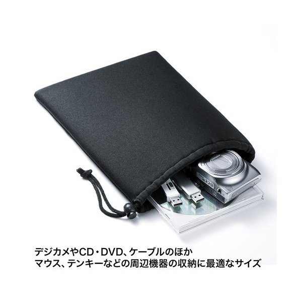 マルチクッションケース 巾着タイプ Lサイズ パソコン周辺機器収納 ブラック  IN-C3K サンワサプライ ネコポス非対応