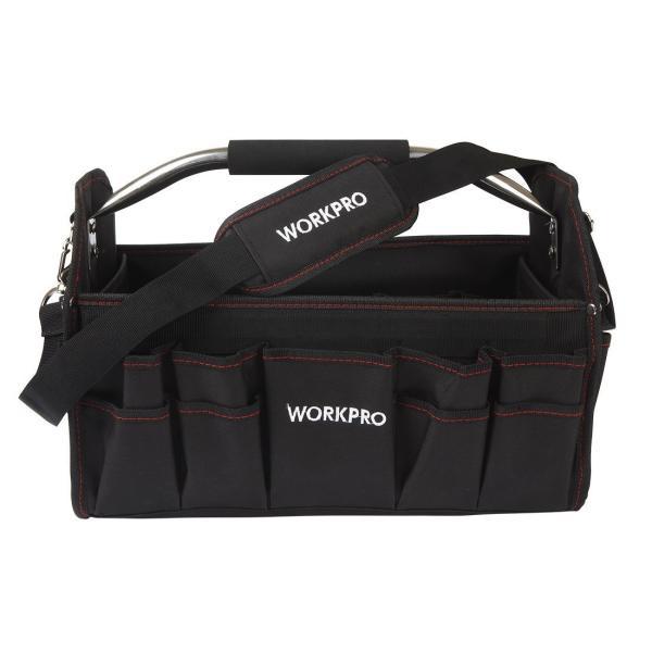 WORKPRO 折畳みツールバッグ400mm 工具バッグ 道具袋 工具差し入れ フルオープン ショルダー付き たっぷり収納 すっきり整理 esushoppu