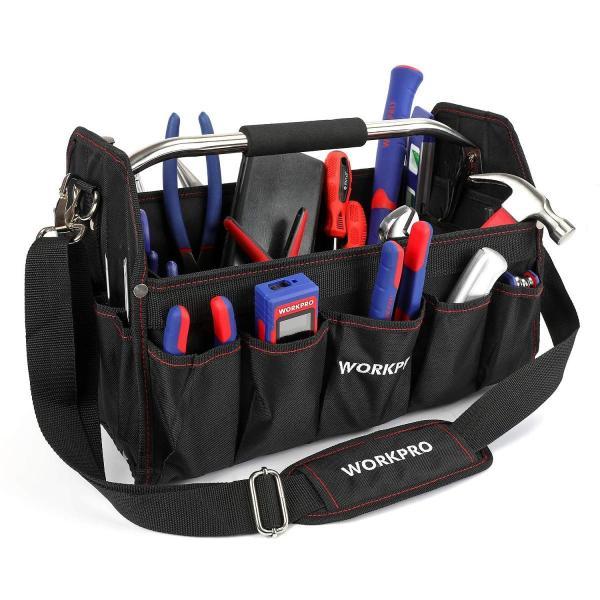WORKPRO 折畳みツールバッグ400mm 工具バッグ 道具袋 工具差し入れ フルオープン ショルダー付き たっぷり収納 すっきり整理 esushoppu 05