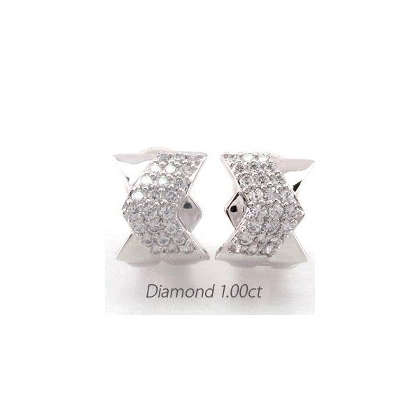ダイヤモンド イヤリング レディース クリップ ゴールド 18k ピアス パヴェ 1.00ct 18金 K18