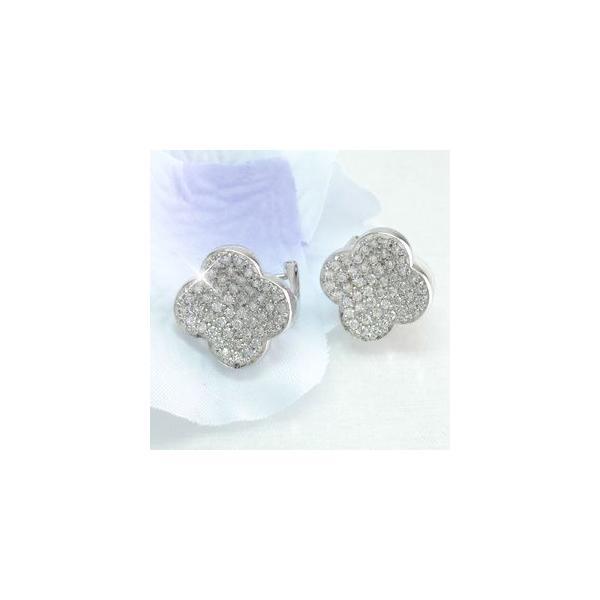 ダイヤモンド イヤリング レディース クリップ ピアス プラチナ 900 フラワー パヴェ 1.00ct