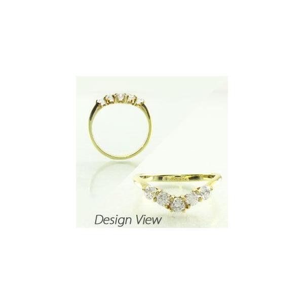 エタニティリング ダイヤモンド ゴールド 指輪 18k ハーフ V字 Vライン 18金 K18