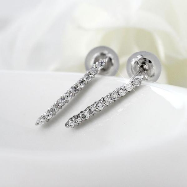 ピアス ダイヤモンド プラチナ 900 ロング ストレート シンプル ダイヤピアス