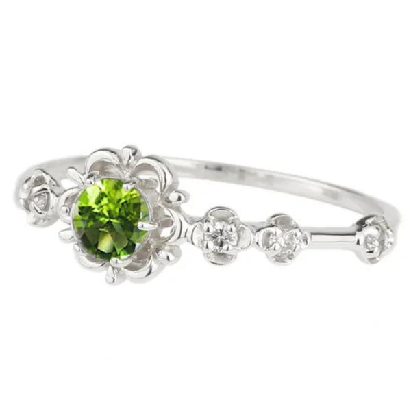 リング プラチナ900 ペリドット ピンキーリング ダイヤモンド パワーストーン PT900 フラワー 花
