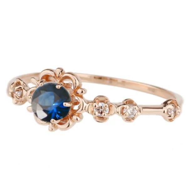 リング サファイア ピンキーリング ダイヤモンド パワーストーン K18ピンクゴールド 18金 フラワー 花 指輪