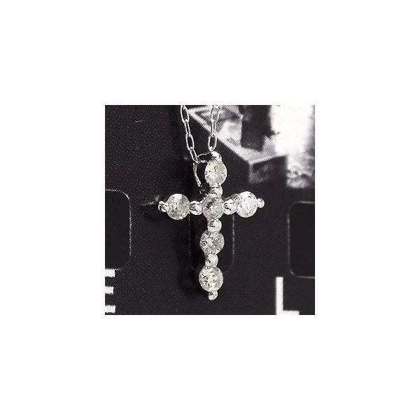 クロス ダイヤネックレス 0.2ct k18ゴールド 十字架 18金 レディース ジュエリー アクセサリー