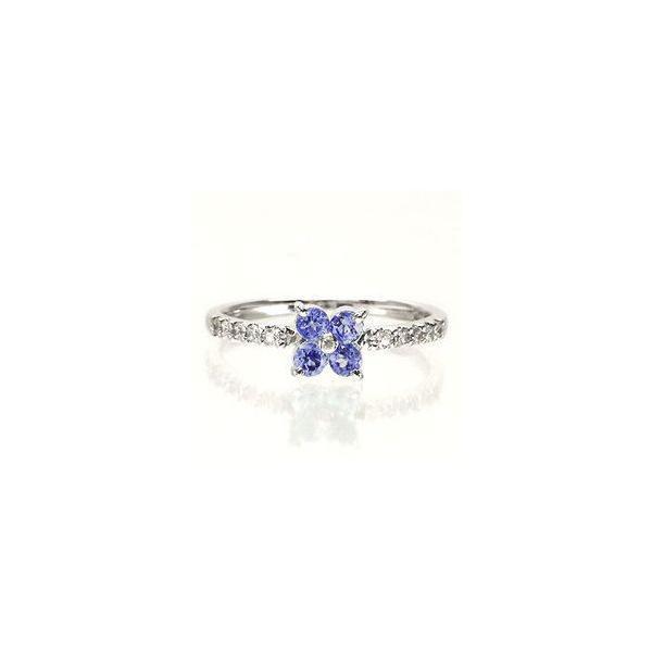 タンザナイト ダイヤモンド リング 指輪 フラワー ピンキーリング k18ゴールド 18金 レディース アクセサリー|eternally|02