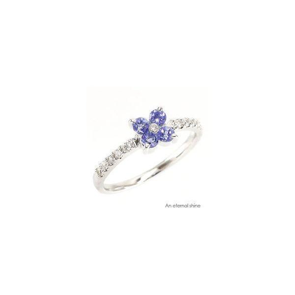 タンザナイト フラワー ダイヤモンド プラチナ900 pt900 指輪 一粒 ピンキーリング レディース ジュエリー アクセサリー|eternally