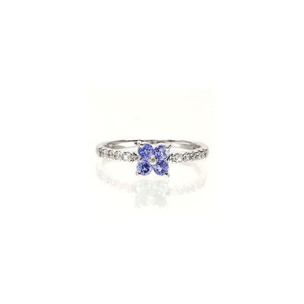 タンザナイト フラワー ダイヤモンド プラチナ900 pt900 指輪 一粒 ピンキーリング レディース ジュエリー アクセサリー|eternally|02