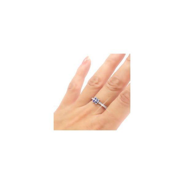 タンザナイト フラワー ダイヤモンド プラチナ900 pt900 指輪 一粒 ピンキーリング レディース ジュエリー アクセサリー|eternally|04