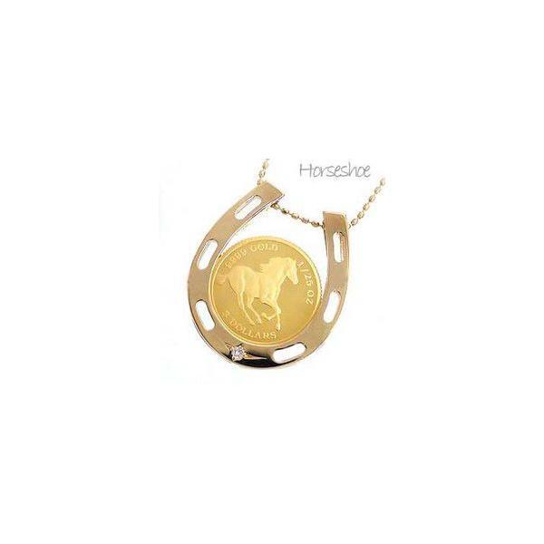 コインネックレス ペンダント 馬蹄 ホースシュー k18 ダイヤモンドネックレス 0.01ct 純金 18金 レディース アクセサリー
