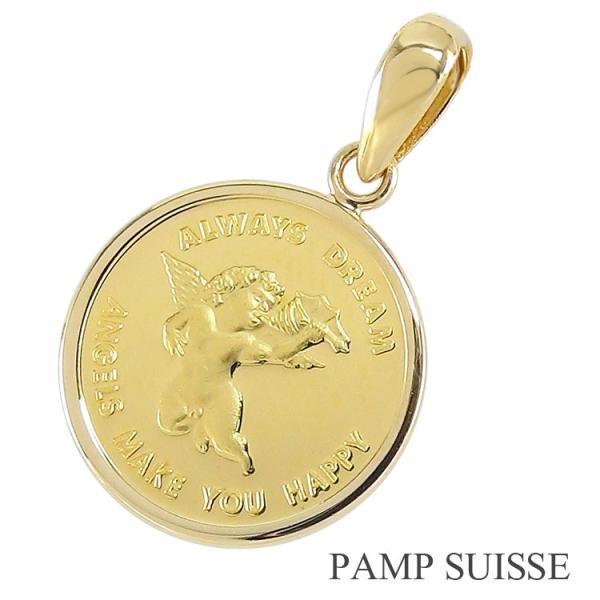 純金貨 k24 コイン ネックレストップ ペンダントトップ 限定品 純金貨(1 25oz)天使 エンジェル 24金 18金枠 レディース PAMP SUISSE社(スイス)