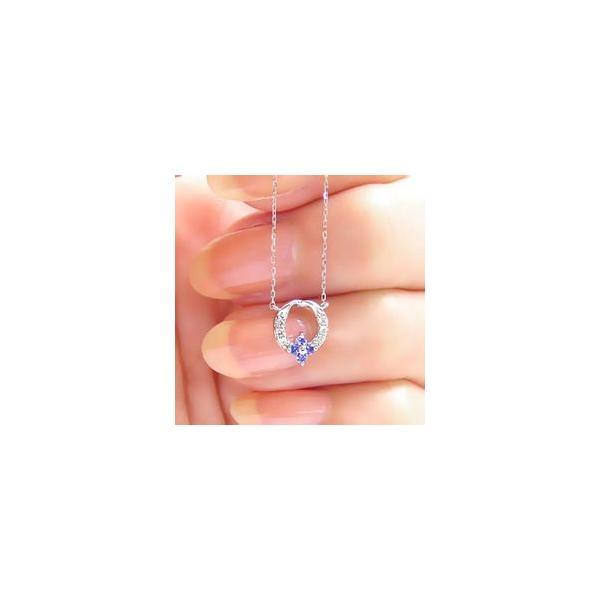 タンザナイト 12月誕生石 フラワー ネックレス プラチナ900 pt900 ダイヤモンド 0.06ct ペンダント リース 花 レディース|eternally|03